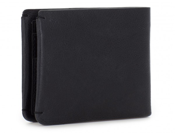 leather mini wallet with coin pocket black side