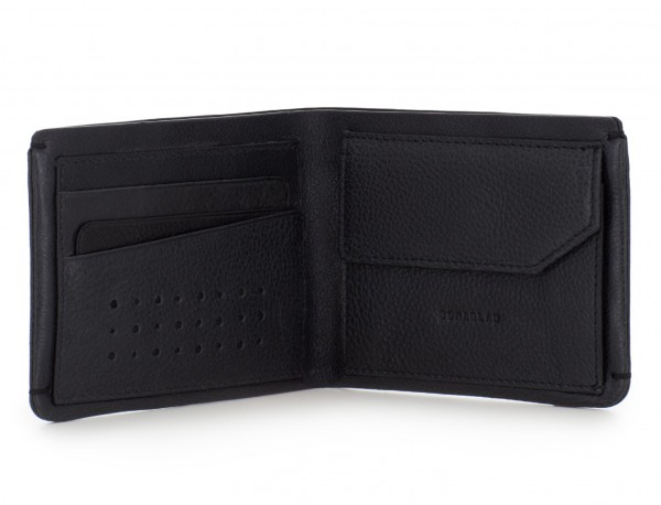 leather mini wallet with coin pocket black open