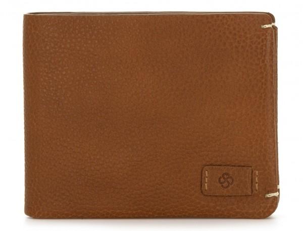 Mini portafoglio con portamonete in pelle marrone chiaro front