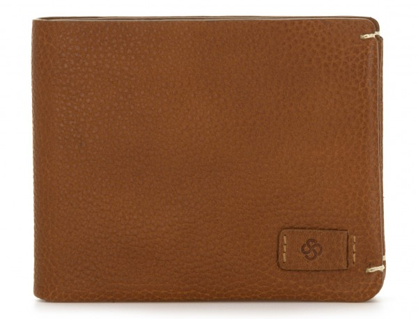 leather mini wallet with coin pocket light brown front