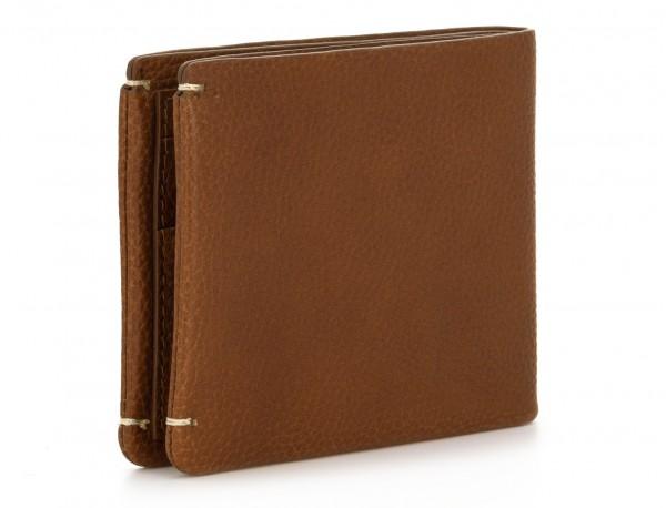 Mini portafoglio con portamonete in pelle marrone chiaro side