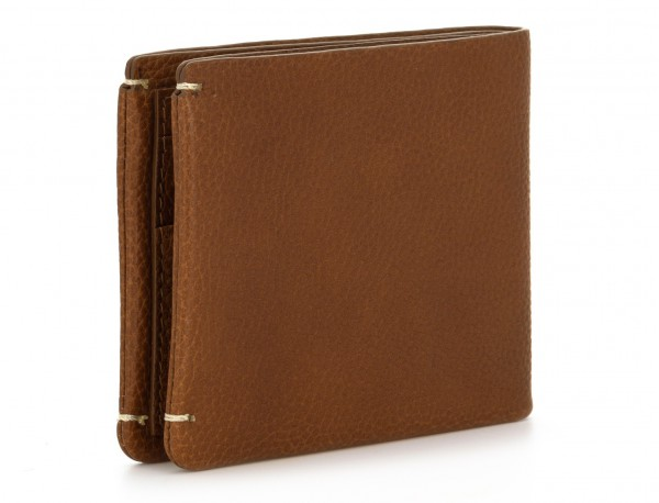 leather mini wallet with coin pocket light brown side
