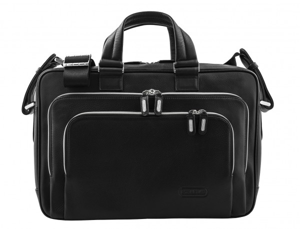 leather business bag in black front