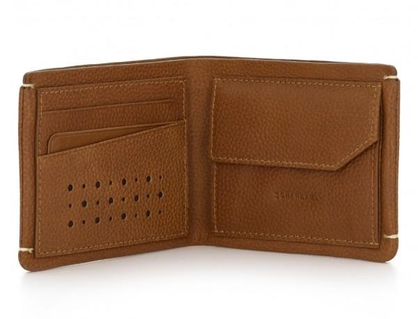 Mini portafoglio con portamonete in pelle marrone chiaro open