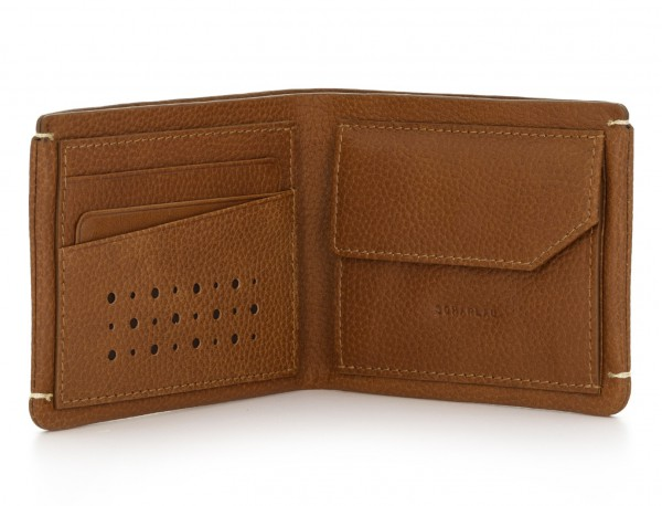 leather mini wallet with coin pocket light brown open