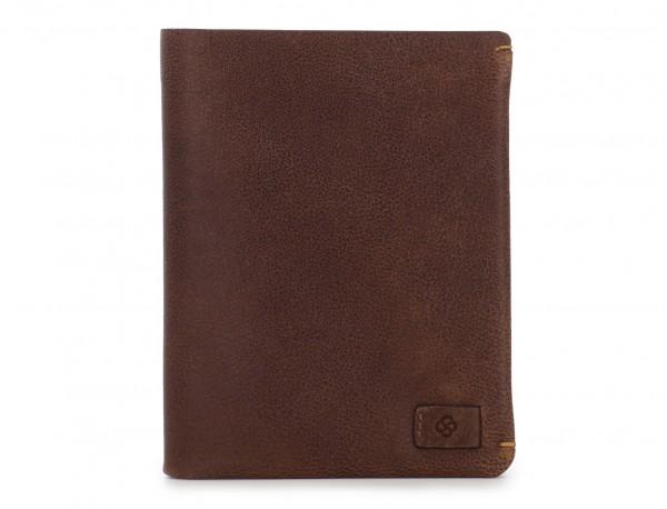 Portafoglio verticale con porta carte in pelle marrone open
