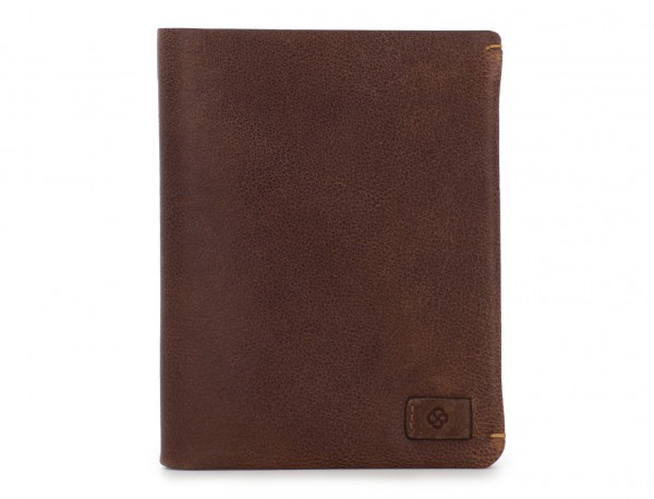 leather vertical wallet with card holder brown front