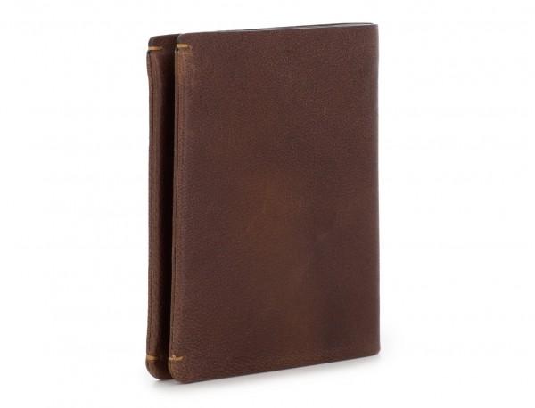 Portafoglio verticale con porta carte in pelle marrone side