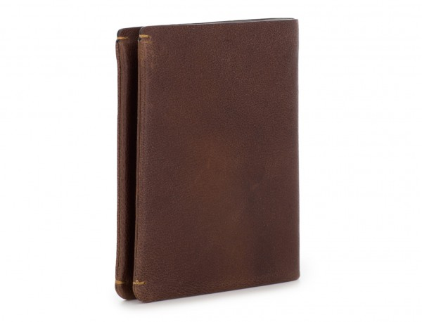 leather vertical wallet with card holder brown side