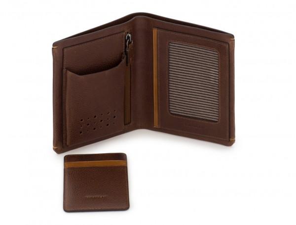 Billetero vertical con tarjetero de cuero marrón abierto