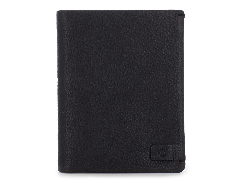 Portafoglio verticale con porta carte in pelle nero front