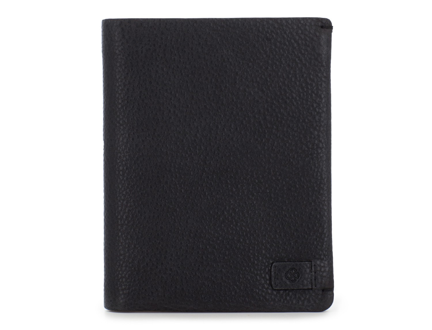 leather vertical wallet with card holder black front