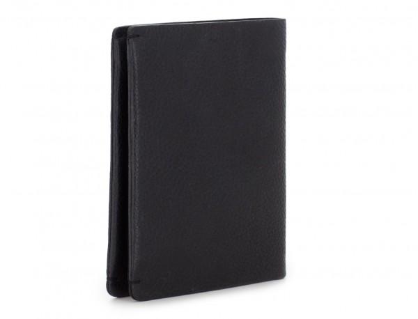leather vertical wallet with card holder black side