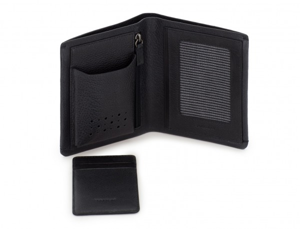 leather vertical wallet with card holder black open