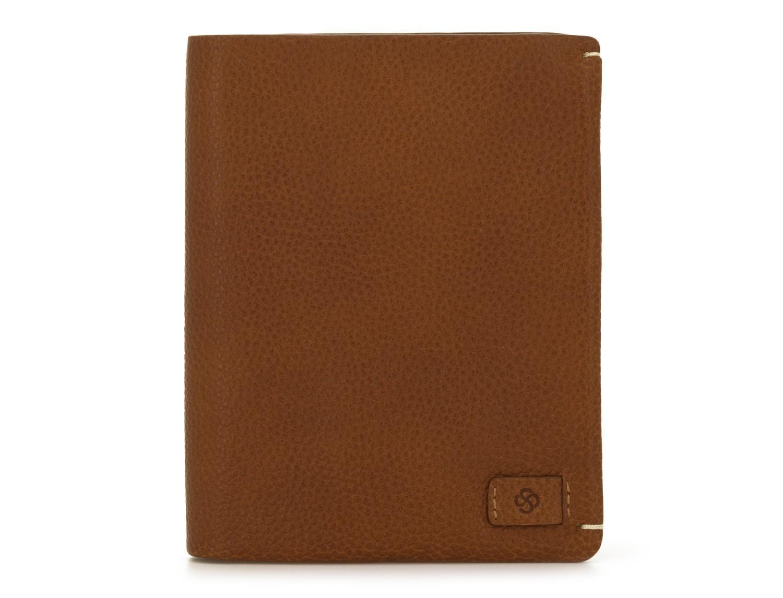 Portafoglio verticale con porta carte in pelle marrone chiaro front