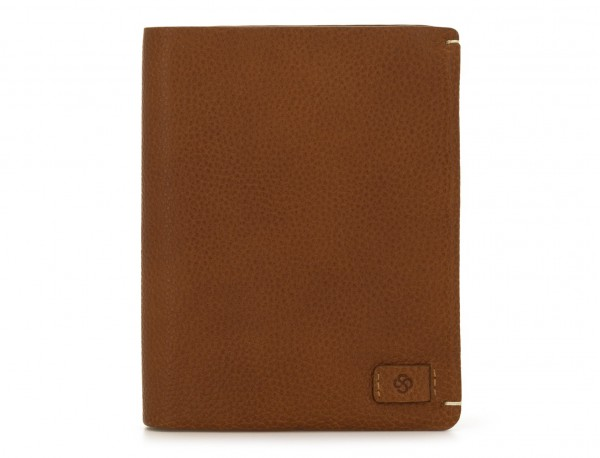 leather vertical wallet with card holder light brown front