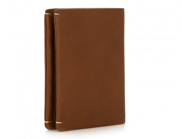 Portafoglio verticale con porta carte in pelle marrone chiaro side
