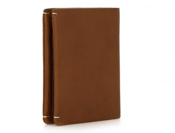 leather vertical wallet with card holder light brown side
