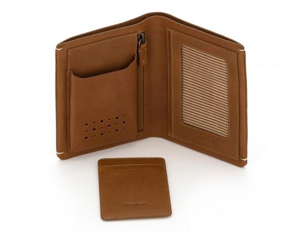 Portafoglio verticale con porta carte in pelle marrone chiaro open