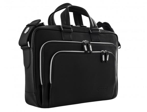 maletin ejecutivo de cuero en color negro lateral