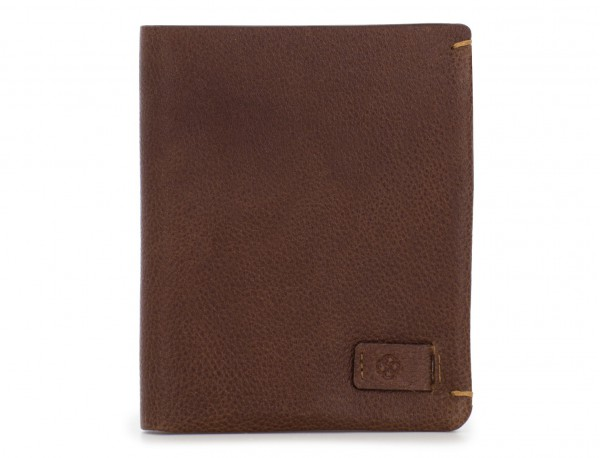 Small leather men wallet brown front