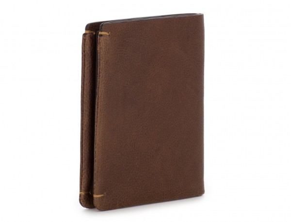 Small leather men wallet brown side