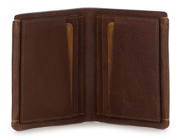cartera de hombre de cuero marrón abierta