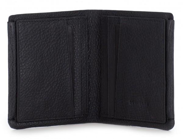Small leather men wallet black open