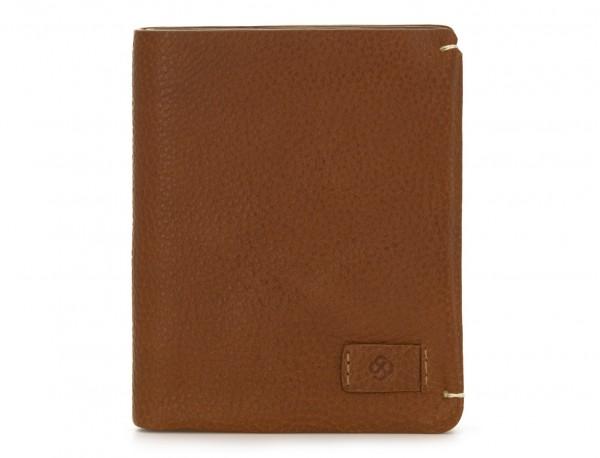 cartera de hombre de cuero marrón claro frontal