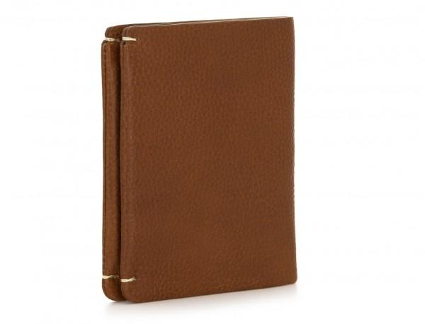 Piccolo portafoglio porta carte in pelle marrone chiaro side