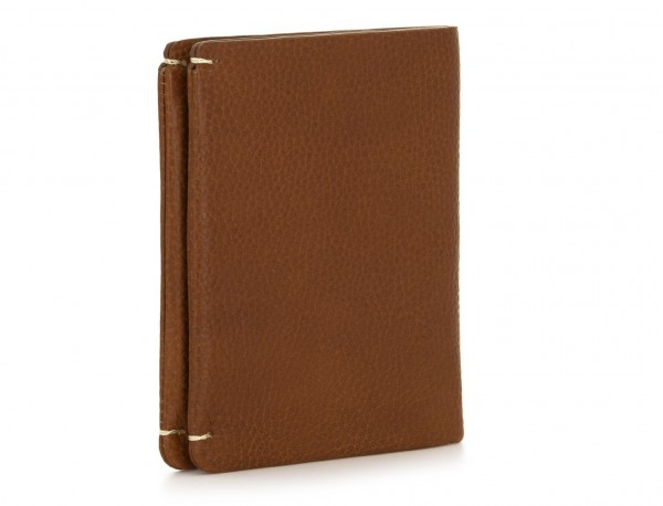 Small leather men wallet light brown side