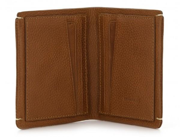cartera de hombre de cuero marrón claro abierta