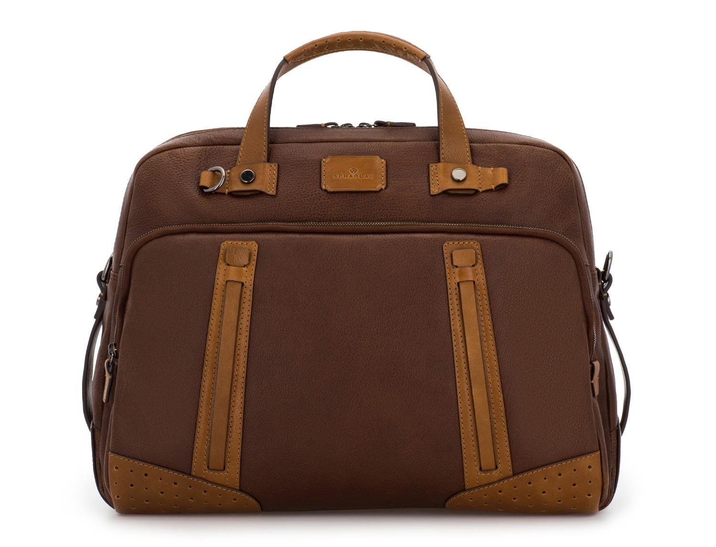 maletín grande de hombre de cuero marrón frontal