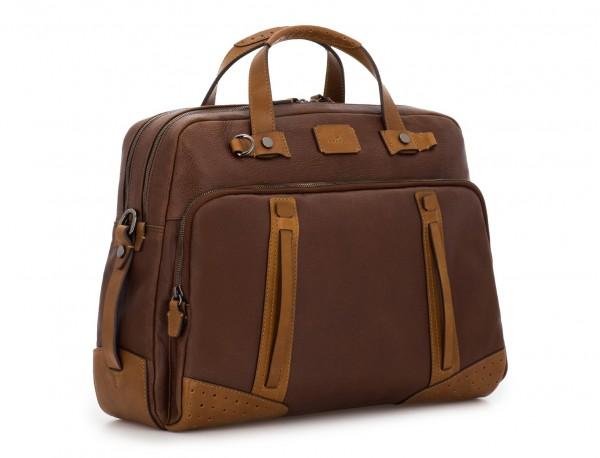 maletín grande de hombre de cuero marrón lado