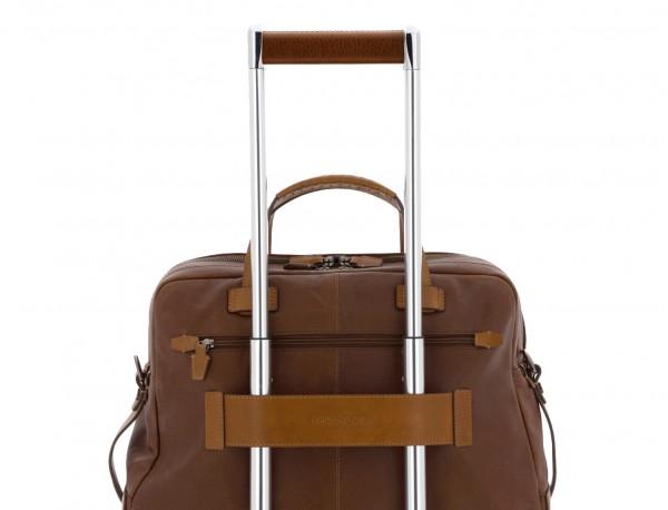 maletín grande de hombre de cuero marrón trolley
