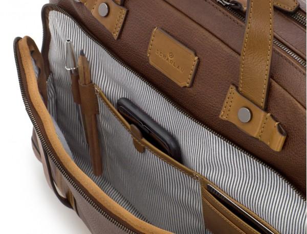 maletín grande de hombre de cuero marrón funcionalidad