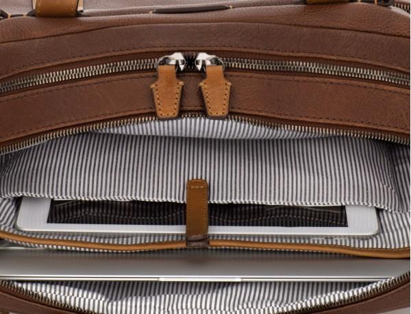 maletín grande de hombre de cuero marrón ordenador