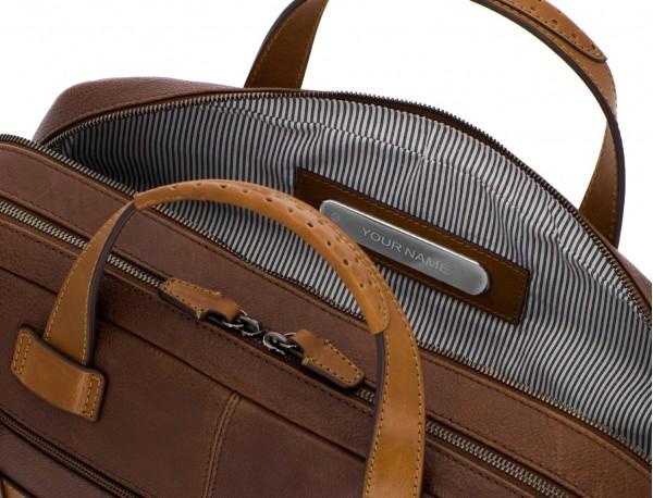 maletín grande de hombre de cuero marrón personalizado