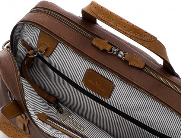 maletín grande de hombre de cuero marrón logo