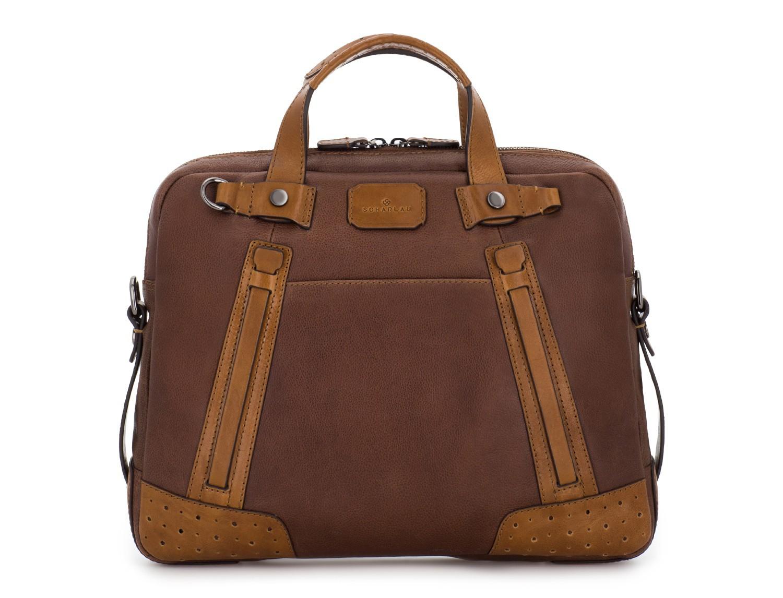 leather vintage laptop bag brown front