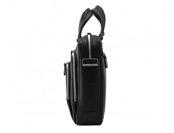leather business bag in black side detail