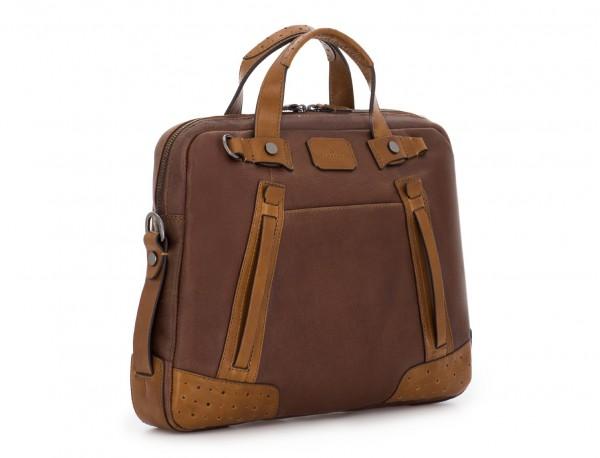 leather vintage laptop bag brown side