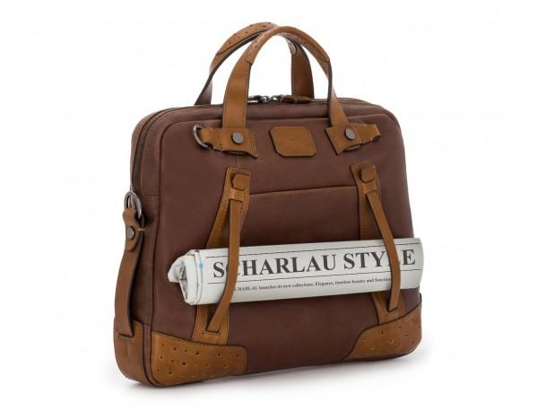 leather vintage laptop bag brown detail