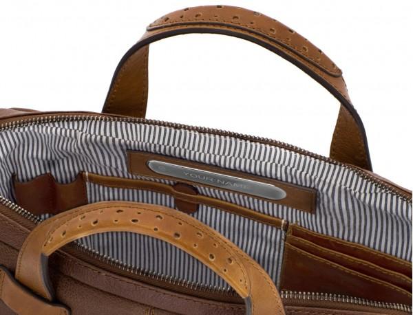 portadocumentos de cuero vintage marrón personalizado