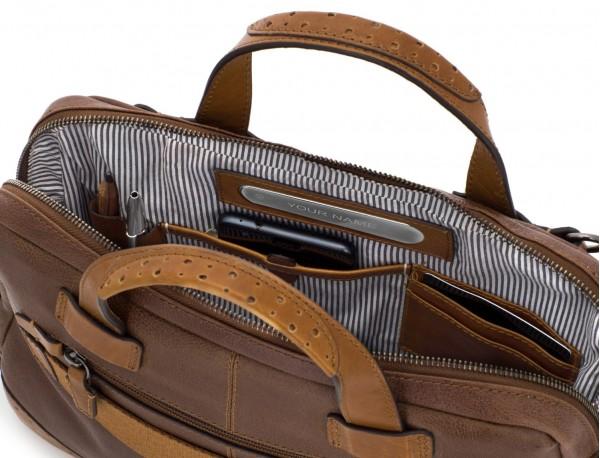 portadocumentos de cuero vintage marrón interior
