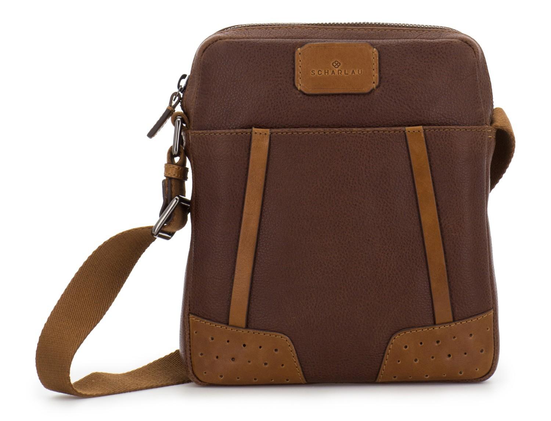 bolso bandolera de hombre en cuero marrón frontal