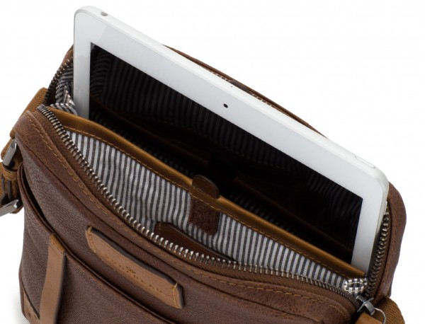 Borsa a tracolla da uomo in pelle vintage marrone tablet