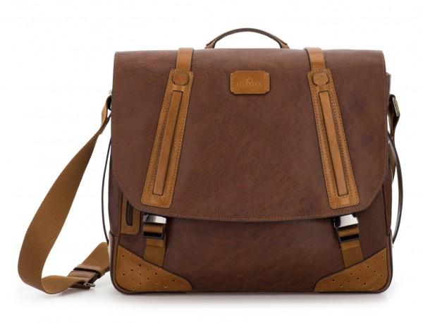 bolso mensajero de cuero vintage marrón frontal