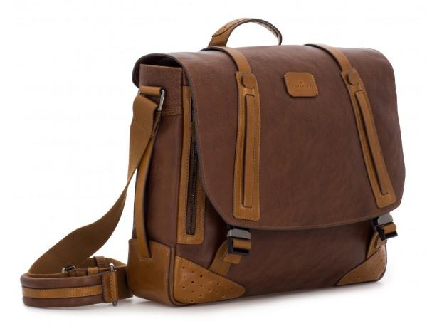 bolso mensajero de cuero vintage marrón lado