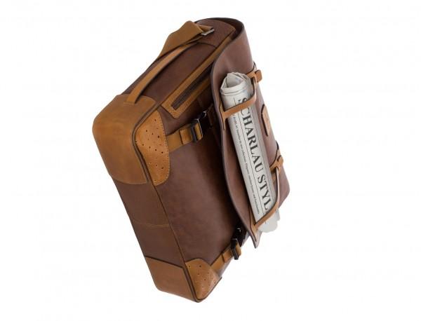 bolso mensajero de cuero vintage marrón base